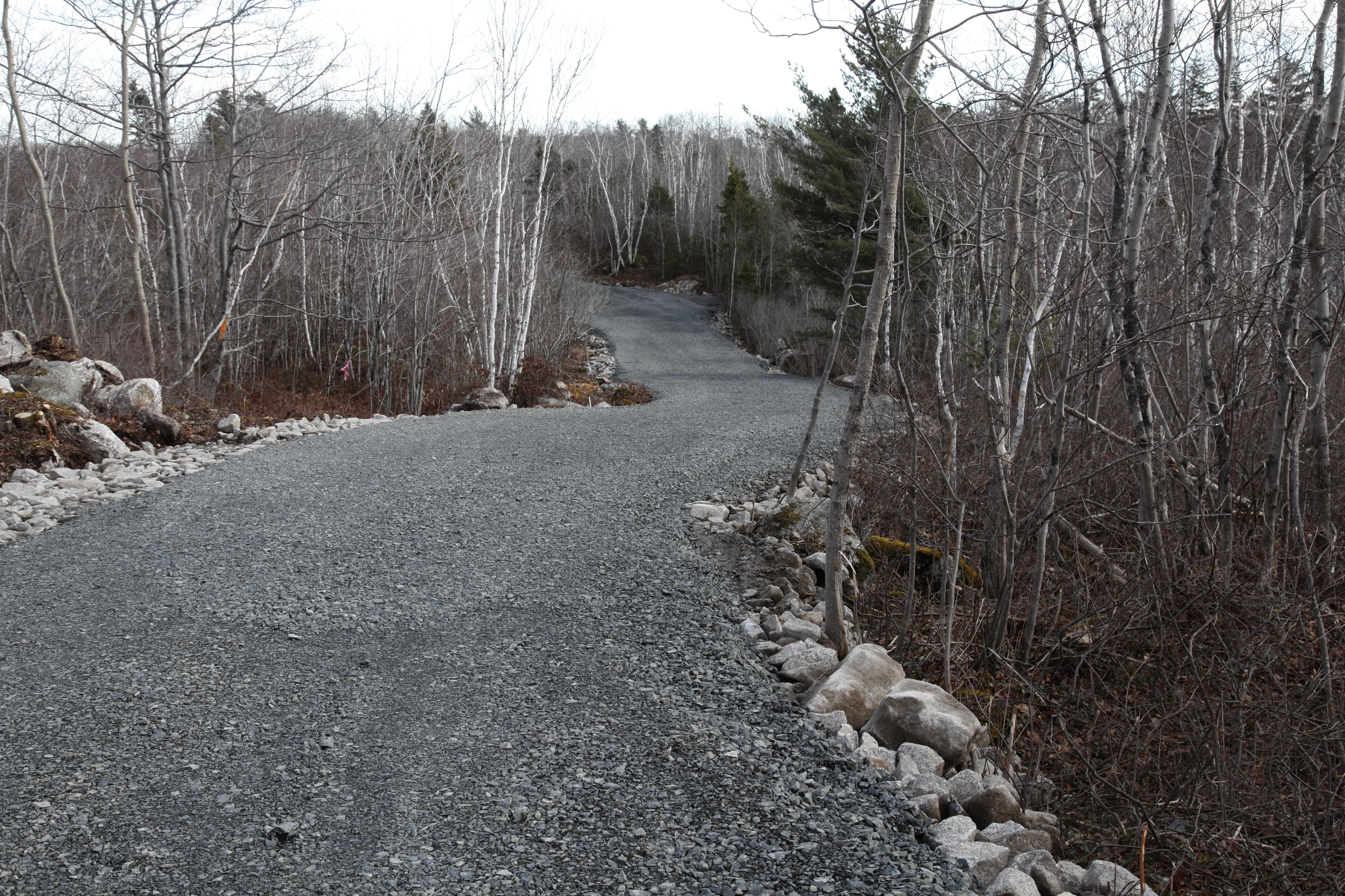 With an early spring work is progressing fast on the new trails at Long Lake Provincial Park. When finished more then 5 kilms of stroller friendly trails will take people from the new parking lot off Northwest Arm Drive around Withrod lake and back.